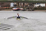 The Women's Boat Race season 2018 - fixture OUWBC vs. Molesey BC: OUWBC in the lead on the approach to Hammersmith Bridge. River Thames between Putney Bridge and Mortlake, London SW15,  United Kingdom, on 04 March 2018 at 13:51, image #84
