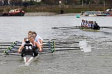 The Women's Boat Race season 2018 - fixture OUWBC vs. Molesey BC: OUWBC in the lead on the approach to Hammersmith Bridge. River Thames between Putney Bridge and Mortlake, London SW15,  United Kingdom, on 04 March 2018 at 13:52, image #85