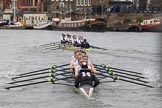 The Women's Boat Race season 2018 - fixture OUWBC vs. Molesey BC: OUWBC are about a length ahead of Molesey after passing Hammersmith Bridge. River Thames between Putney Bridge and Mortlake, London SW15,  United Kingdom, on 04 March 2018 at 13:52, image #86