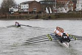 The Women's Boat Race season 2018 - fixture OUWBC vs. Molesey BC: OUWBC are about a length ahead of Molesey after passing Hammersmith Bridge. River Thames between Putney Bridge and Mortlake, London SW15,  United Kingdom, on 04 March 2018 at 13:52, image #87