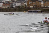 The Women's Boat Race season 2018 - fixture OUWBC vs. Molesey BC: OUWBC are extending their lead over Molesey. River Thames between Putney Bridge and Mortlake, London SW15,  United Kingdom, on 04 March 2018 at 13:56, image #89