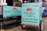 "The Cancer Research UK Women's Boat Race 2018: CUBC with their ""Official Merchandise"" sales trailer. River Thames between Putney Bridge and Mortlake, London SW15,  United Kingdom, on 24 March 2018 at 13:00, image #2"