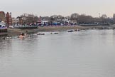 The Cancer Research UK Women's Boat Race 2018: The Putney boat houses seen from Putney Bridge, hours before the race. River Thames between Putney Bridge and Mortlake, London SW15,  United Kingdom, on 24 March 2018 at 13:12, image #6