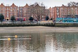The Cancer Research UK Women's Boat Race 2018: The start area of the Boat Race, the stake boats will be attached to the yellow buoys, and the rear end of the Boat Race blue will be in the position of the red buoys. River Thames between Putney Bridge and Mortlake, London SW15,  United Kingdom, on 24 March 2018 at 13:19, image #8