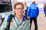 The Cancer Research UK Women's Boat Race 2018: Cambridge 2 seat Imogen Grant arriving at the boathouses before the race. River Thames between Putney Bridge and Mortlake, London SW15,  United Kingdom, on 24 March 2018 at 13:54, image #11
