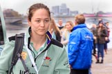 The Cancer Research UK Women's Boat Race 2018: Cambridge bow seat Tricia Smith arriving at the boathouses before the race. River Thames between Putney Bridge and Mortlake, London SW15,  United Kingdom, on 24 March 2018 at 13:54, image #13