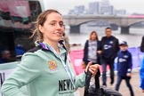 The Cancer Research UK Women's Boat Race 2018: Cambridge 3 seat Kelsy Barolak arriving at the boathouses before the race. River Thames between Putney Bridge and Mortlake, London SW15,  United Kingdom, on 24 March 2018 at 13:55, image #15