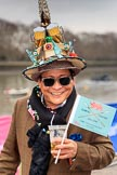 The Cancer Research UK Women's Boat Race 2018: This gentleman must be a hardcore Boat Race fan - he seems to be there every year (nad is difficult to miss). River Thames between Putney Bridge and Mortlake, London SW15,  United Kingdom, on 24 March 2018 at 14:22, image #27