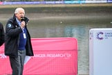 The Cancer Research UK Women's Boat Race 2018: Sports broadcaster David Mercer commentating the toss. River Thames between Putney Bridge and Mortlake, London SW15,  United Kingdom, on 24 March 2018 at 14:28, image #28