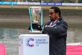 The Cancer Research UK Women's Boat Race 2018: The Women's Boat Race trophy is carefully positioned before the toss. River Thames between Putney Bridge and Mortlake, London SW15,  United Kingdom, on 24 March 2018 at 14:29, image #29