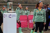 The Cancer Research UK Women's Boat Race 2018: The Cambridge women arriving for the toss. River Thames between Putney Bridge and Mortlake, London SW15,  United Kingdom, on 24 March 2018 at 14:39, image #30