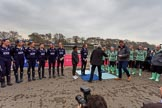 The Cancer Research UK Women's Boat Race 2018: The Women's Boat Race toss - Oxford on the left of the photo, Cambridge on the right, race umpire Sir Matthew Pinsent in front of Cambridge. River Thames between Putney Bridge and Mortlake, London SW15,  United Kingdom, on 24 March 2018 at 14:40, image #31