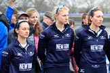 The Cancer Research UK Women's Boat Race 2018: Oxford women at the toss - cox Jessica Buck, stroke Beth Bridgman, and 7 seat Abigail Killen. River Thames between Putney Bridge and Mortlake, London SW15,  United Kingdom, on 24 March 2018 at 14:40, image #35