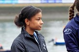 The Cancer Research UK Women's Boat Race 2018: Zahara Alacia, a 15 years old member of the Boat Race Future Blues Programme, about to through the coin at the toss. River Thames between Putney Bridge and Mortlake, London SW15,  United Kingdom, on 24 March 2018 at 14:40, image #39