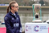 The Cancer Research UK Women's Boat Race 2018: OUWBC president and Oxford 2 seat Katherine Erickson with the Women's Boat Race trophy at the toss. River Thames between Putney Bridge and Mortlake, London SW15,  United Kingdom, on 24 March 2018 at 14:40, image #40