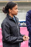 The Cancer Research UK Women's Boat Race 2018: Zahara Alacia, a 15 years old member of the Boat Race Future Blues Programme, about to through the coin at the toss. River Thames between Putney Bridge and Mortlake, London SW15,  United Kingdom, on 24 March 2018 at 14:40, image #43