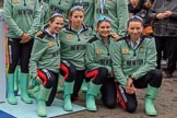 The Cancer Research UK Women's Boat Race 2018: The Cambridge crew  at the toss, here cox Sophie Shapter, 6 Alice White, 7 Myriam Goudet-Boukhatmi, and stroke Olivia Coffey. River Thames between Putney Bridge and Mortlake, London SW15,  United Kingdom, on 24 March 2018 at 14:42, image #55