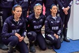 The Cancer Research UK Women's Boat Race 2018: The Oxford Blue Boat crew after the toss -  7 seat Abigail Killen, stroke Beth Bridgman, and cox Jessica Buck. River Thames between Putney Bridge and Mortlake, London SW15,  United Kingdom, on 24 March 2018 at 14:42, image #56