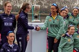 The Cancer Research UK Women's Boat Race 2018: Handshake after the toss - Oxford president Katherine Erickson and Cambridge president Daphne Martschenko. River Thames between Putney Bridge and Mortlake, London SW15,  United Kingdom, on 24 March 2018 at 14:42, image #58