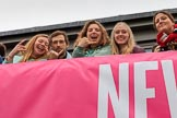 The Cancer Research UK Women's Boat Race 2018: Spectators on the balcony of the Thames RC boathouse. River Thames between Putney Bridge and Mortlake, London SW15,  United Kingdom, on 24 March 2018 at 14:46, image #60