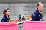 The Cancer Research UK Women's Boat Race 2018: On the way to the reserve boat toss - here, for Oxford's Osiris, cox Eleanor Shearer and stroke Anna Murgatroyd. River Thames between Putney Bridge and Mortlake, London SW15,  United Kingdom, on 24 March 2018 at 14:54, image #61