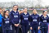 The Cancer Research UK Women's Boat Race 2018: The reserve boat toss - here, for Oxford's Osiris, cox Eleanor Shearer, 7 seat Olivia Pryer, 6 Sanja Brolih, 5 Sarah Payne Riches, and 4 Rachel Anderson. River Thames between Putney Bridge and Mortlake, London SW15,  United Kingdom, on 24 March 2018 at 14:54, image #63