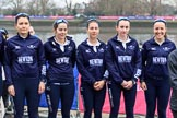 The Cancer Research UK Women's Boat Race 2018: The reserve boat toss - here, for Oxford's Osiris, 5 seat Sarah Payne Riches, 4 Rachel Anderson, 3 Madeline Goss, 2 Laura Depner, and bow Matlida Edwards. River Thames between Putney Bridge and Mortlake, London SW15,  United Kingdom, on 24 March 2018 at 14:54, image #64