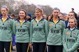 The Cancer Research UK Women's Boat Race 2018: The reserve boat toss - here, for Cambridge's Blondie, 4 seat Laura Foster,  6 Larkin Sayre , 7 Lucy Pike, stroke Millie Perrin, and cox Sophie Wrixon. River Thames between Putney Bridge and Mortlake, London SW15,  United Kingdom, on 24 March 2018 at 14:54, image #68