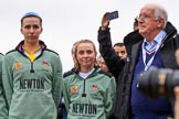 The Cancer Research UK Women's Boat Race 2018: At the Women's Boat Race toss - Cambridge stroke Millie Perrin, and cox Sophie Wrixon, with sports broadcaster David Mercer. River Thames between Putney Bridge and Mortlake, London SW15,  United Kingdom, on 24 March 2018 at 14:55, image #72