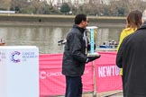 The Cancer Research UK Women's Boat Race 2018: After the toss - the Women's Boat Race trophy is removed for the trip to Mortlake, and the finish of the race. River Thames between Putney Bridge and Mortlake, London SW15,  United Kingdom, on 24 March 2018 at 14:56, image #73