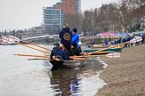 The Cancer Research UK Women's Boat Race 2018: One of the historic rowing boats that keep the public entertained before the race. River Thames between Putney Bridge and Mortlake, London SW15,  United Kingdom, on 24 March 2018 at 15:14, image #75