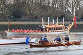 The Cancer Research UK Women's Boat Race 2018: Gloriana, the Queen's rowbarge, on the way to Mortlake. River Thames between Putney Bridge and Mortlake, London SW15,  United Kingdom, on 24 March 2018 at 15:15, image #76