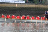The Cancer Research UK Women's Boat Race 2018: Rowers at work on the Queen's rowbarge Gloriana. River Thames between Putney Bridge and Mortlake, London SW15,  United Kingdom, on 24 March 2018 at 15:15, image #77