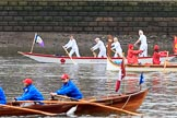 The Cancer Research UK Women's Boat Race 2018: Historic rowing boats (here from CityBargeClub.org.uk) entertaining the crowds. River Thames between Putney Bridge and Mortlake, London SW15,  United Kingdom, on 24 March 2018 at 15:16, image #78