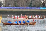 The Cancer Research UK Women's Boat Race 2018: Historic rowing boats (here from CityBargeClub.org.uk) entertaining the crowds. River Thames between Putney Bridge and Mortlake, London SW15,  United Kingdom, on 24 March 2018 at 15:16, image #79