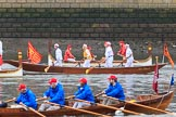 The Cancer Research UK Women's Boat Race 2018: Historic rowing boats (here from CityBargeClub.org.uk) entertaining the crowds. River Thames between Putney Bridge and Mortlake, London SW15,  United Kingdom, on 24 March 2018 at 15:16, image #80