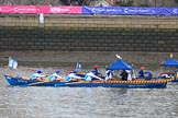 "The Cancer Research UK Women's Boat Race 2018: Historic rowing boats (here ""Dove"", the Tallow Chandlers barge) entertaining the crowds. River Thames between Putney Bridge and Mortlake, London SW15,  United Kingdom, on 24 March 2018 at 15:17, image #81"