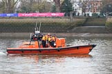 "The Cancer Research UK Women's Boat Race 2018: RNLI E-Class boat ""Brawn Challenge"". For a virtual tour of these high powered, high tech boats, see http://j.mp/rnli-e-class. River Thames between Putney Bridge and Mortlake, London SW15,  United Kingdom, on 24 March 2018 at 15:24, image #82"