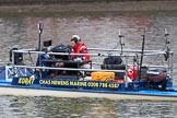 "The Cancer Research UK Women's Boat Race 2018: The Chas Newens Marine catamaran ""Korat"", used as a camera platform for BBC Sport. River Thames between Putney Bridge and Mortlake, London SW15,  United Kingdom, on 24 March 2018 at 15:30, image #83"