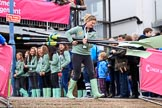 The Cancer Research UK Women's Boat Race 2018: The Cambridge women, as winners of the previous years race, are the first to come out of the boathouse. River Thames between Putney Bridge and Mortlake, London SW15,  United Kingdom, on 24 March 2018 at 15:33, image #84