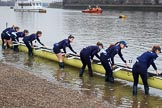 The Cancer Research UK Women's Boat Race 2018: The Oxford Blue Boat crew getting their boat on the river. River Thames between Putney Bridge and Mortlake, London SW15,  United Kingdom, on 24 March 2018 at 15:43, image #98