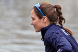 The Cancer Research UK Women's Boat Race 2018: Close-up of Sara Kushma, in the 6 seat for Oxford. River Thames between Putney Bridge and Mortlake, London SW15,  United Kingdom, on 24 March 2018 at 15:45, image #106