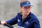 The Cancer Research UK Women's Boat Race 2018: Close-up of Renée Koolschijn, in the bow seat for Oxford. River Thames between Putney Bridge and Mortlake, London SW15,  United Kingdom, on 24 March 2018 at 15:45, image #107