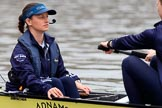 The Cancer Research UK Women's Boat Race 2018: Close-up of Jessica Buck,cox for Oxford. River Thames between Putney Bridge and Mortlake, London SW15,  United Kingdom, on 24 March 2018 at 15:45, image #108