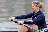 The Cancer Research UK Women's Boat Race 2018: Close-up of Morgan McGovern, in the 5 seat for Oxford. River Thames between Putney Bridge and Mortlake, London SW15,  United Kingdom, on 24 March 2018 at 15:45, image #109