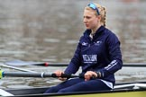 The Cancer Research UK Women's Boat Race 2018: Close-up of Beth Bridgman, stroke for Oxford. River Thames between Putney Bridge and Mortlake, London SW15,  United Kingdom, on 24 March 2018 at 15:45, image #110