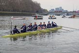 The Cancer Research UK Women's Boat Race 2018: The Oxford Blue Boat crew leaving the boathouse area - cox Jessica Buck, stroke Beth Bridgman, 7 Abigail Killen, 6 Sara Kushma, 5 Morgan McGovern, 4 Alice Roberts, 3 Juliette Perry, 2 Katherine Erickson, bow Renée Koolschijn. River Thames between Putney Bridge and Mortlake, London SW15,  United Kingdom, on 24 March 2018 at 15:45, image #111