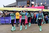 The Cancer Research UK Women's Boat Race 2018: The Cambridge Blue Boat crew carrying their boat from the boathouses to the river. River Thames between Putney Bridge and Mortlake, London SW15,  United Kingdom, on 24 March 2018 at 15:45, image #112