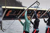 The Cancer Research UK Women's Boat Race 2018: The Cambridge Blue Boat crew carrying their boat from the boathouses to the river. River Thames between Putney Bridge and Mortlake, London SW15,  United Kingdom, on 24 March 2018 at 15:46, image #115