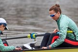 The Cancer Research UK Women's Boat Race 2018: Cambridge cox Sophie Shapter  and stroke Olivia Coffey. River Thames between Putney Bridge and Mortlake, London SW15,  United Kingdom, on 24 March 2018 at 15:48, image #133